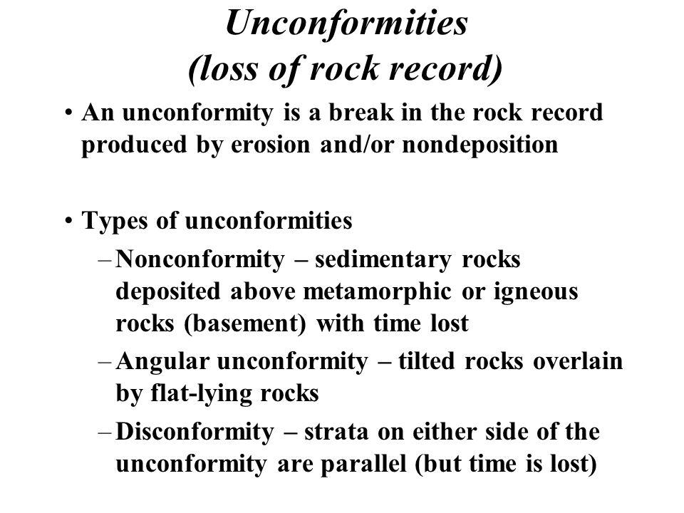 Unconformities (loss of rock record)