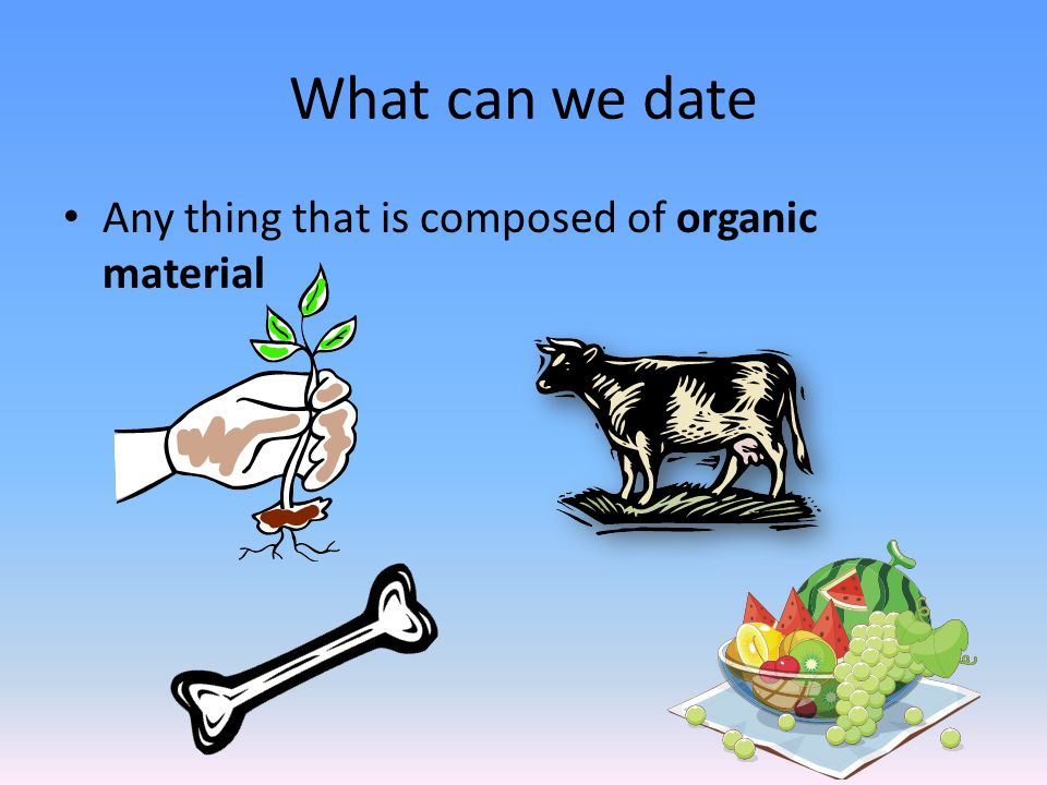 What can we date Any thing that is composed of organic material