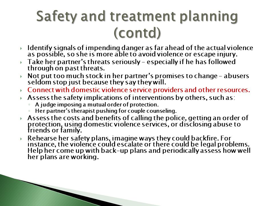 Safety and treatment planning (contd)