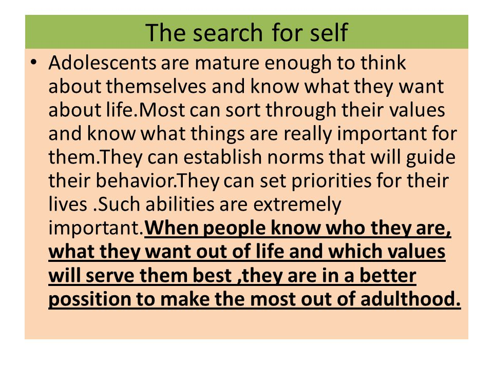 The search for self