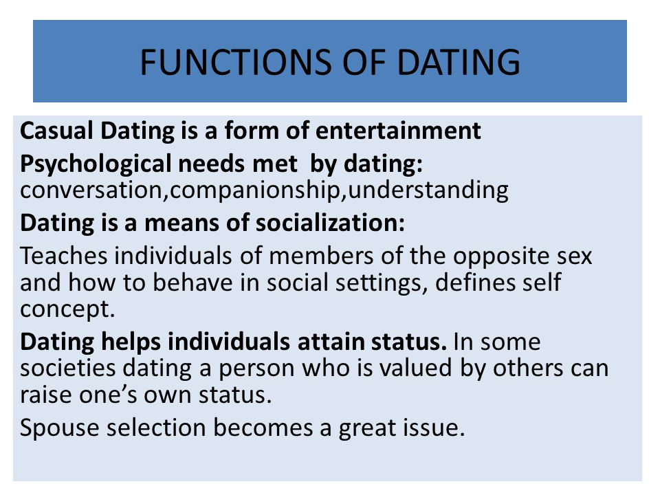 FUNCTIONS OF DATING