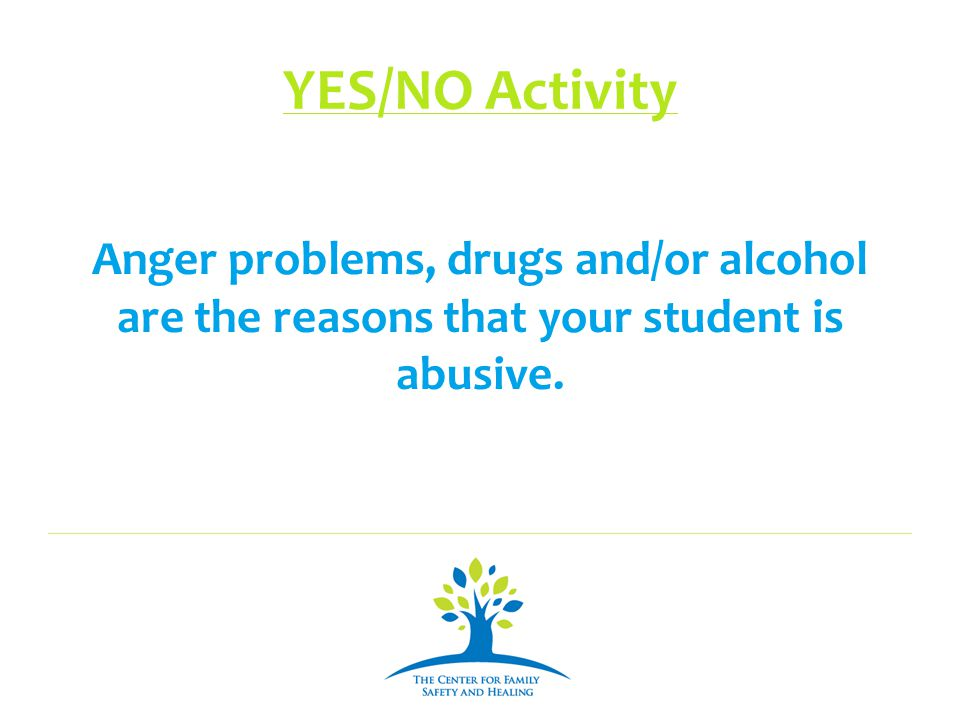 YES/NO Activity Anger problems, drugs and/or alcohol are the reasons that your student is abusive.