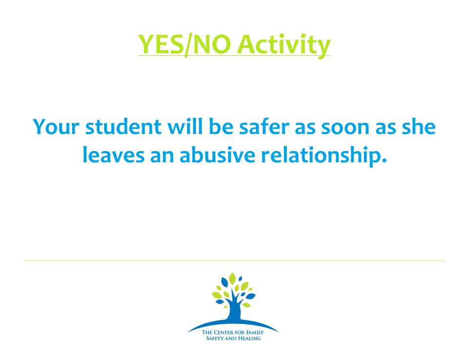 YES/NO Activity Your student will be safer as soon as she leaves an abusive relationship.