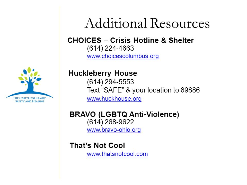 Additional Resources CHOICES – Crisis Hotline & Shelter