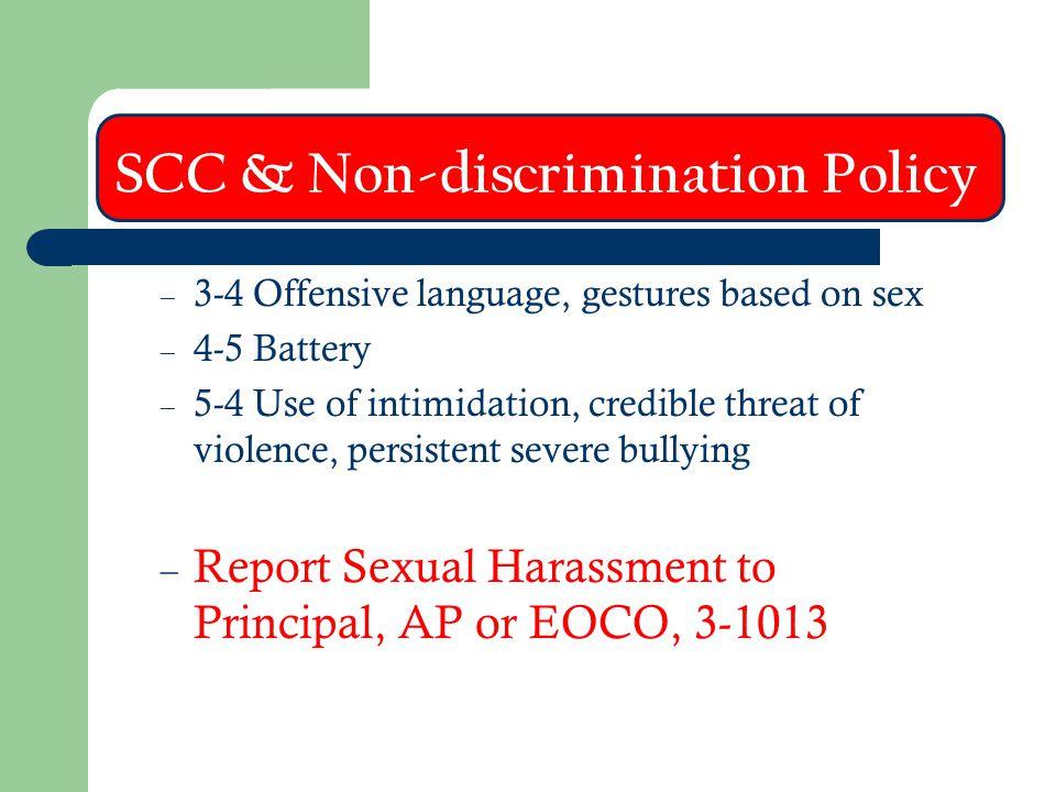 SCC & Non-discrimination Policy