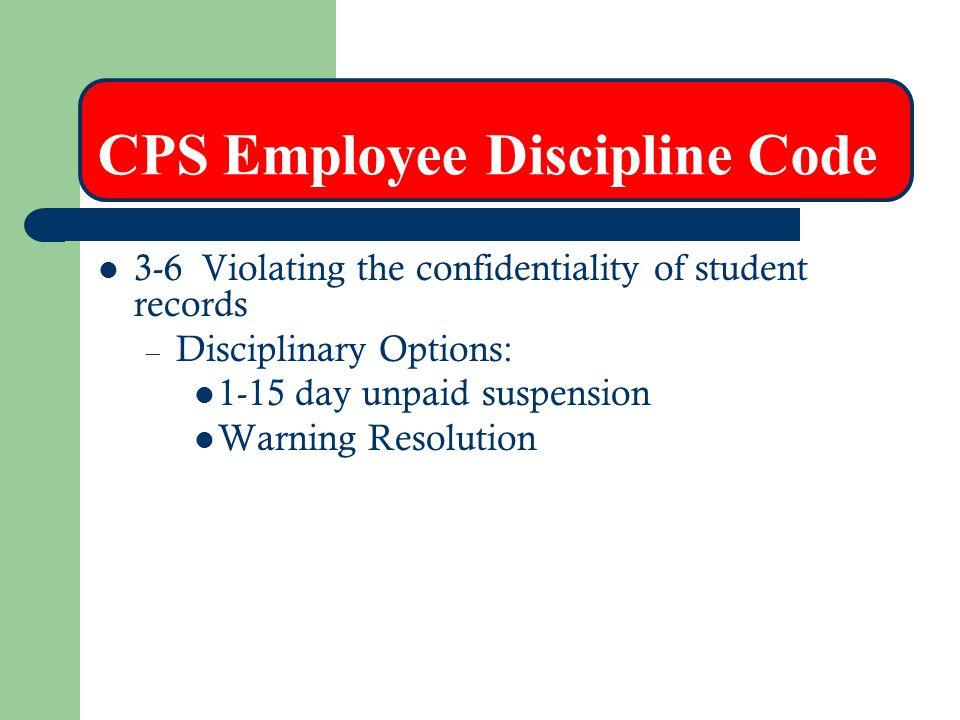 CPS Employee Discipline Code