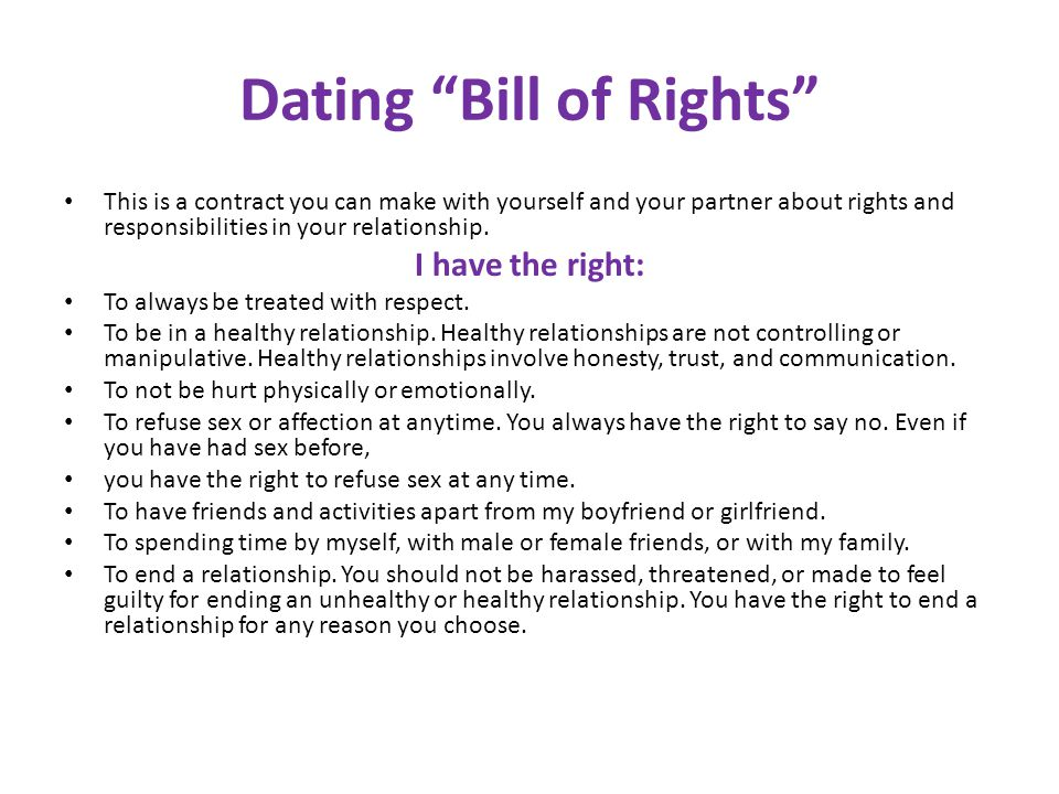 your rights and responsibilities in a relationship