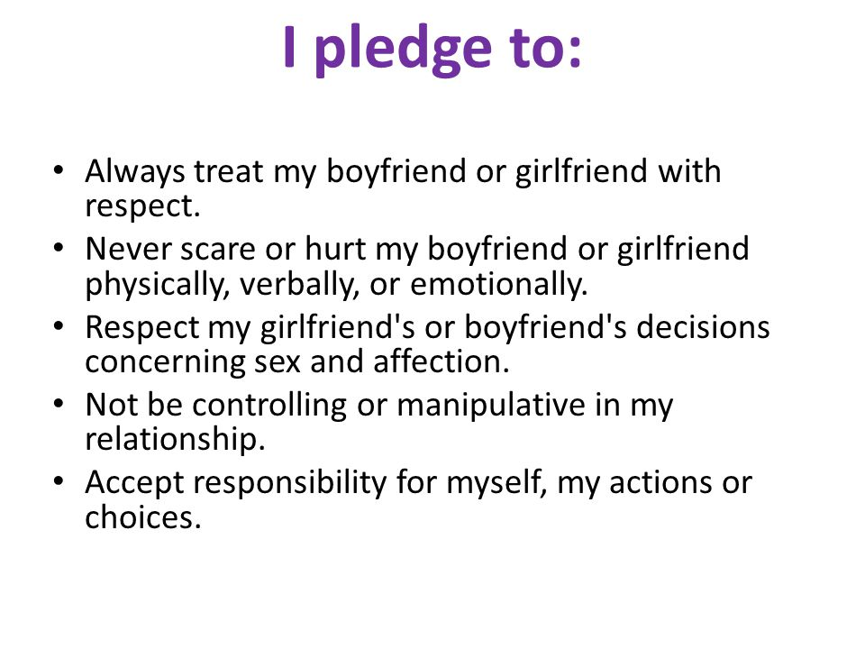 I pledge to: Always treat my boyfriend or girlfriend with respect.