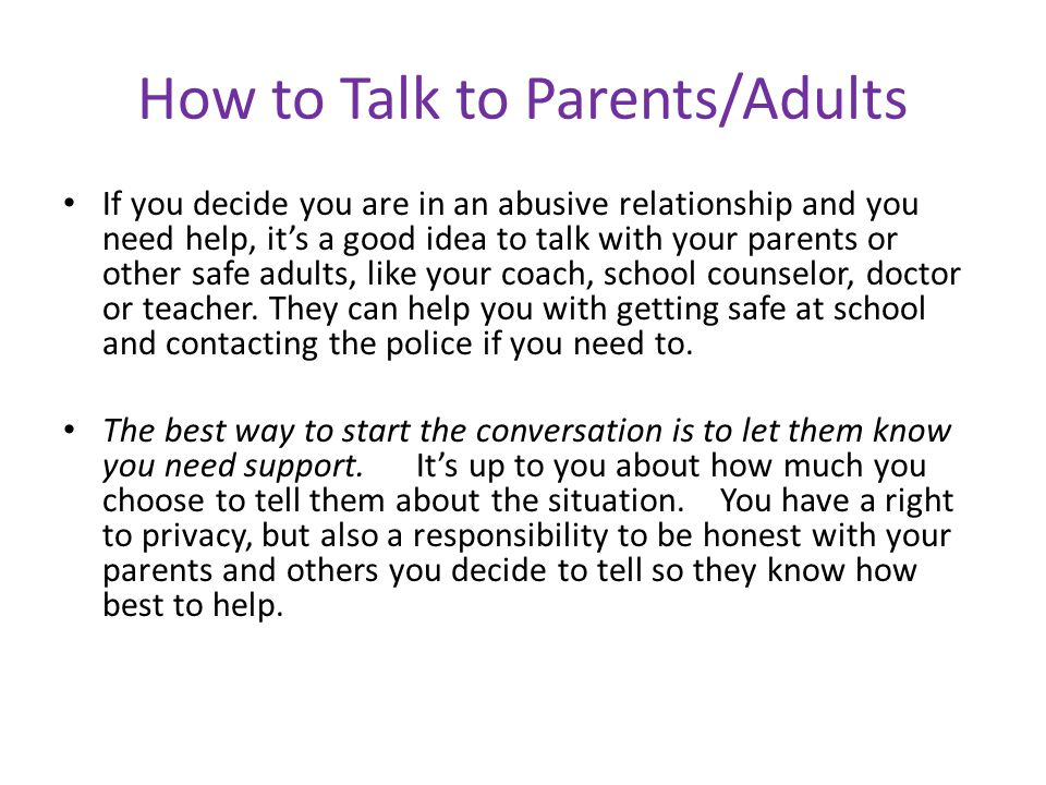 How to Talk to Parents/Adults