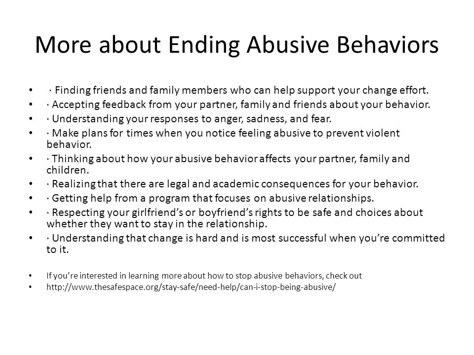 More about Ending Abusive Behaviors