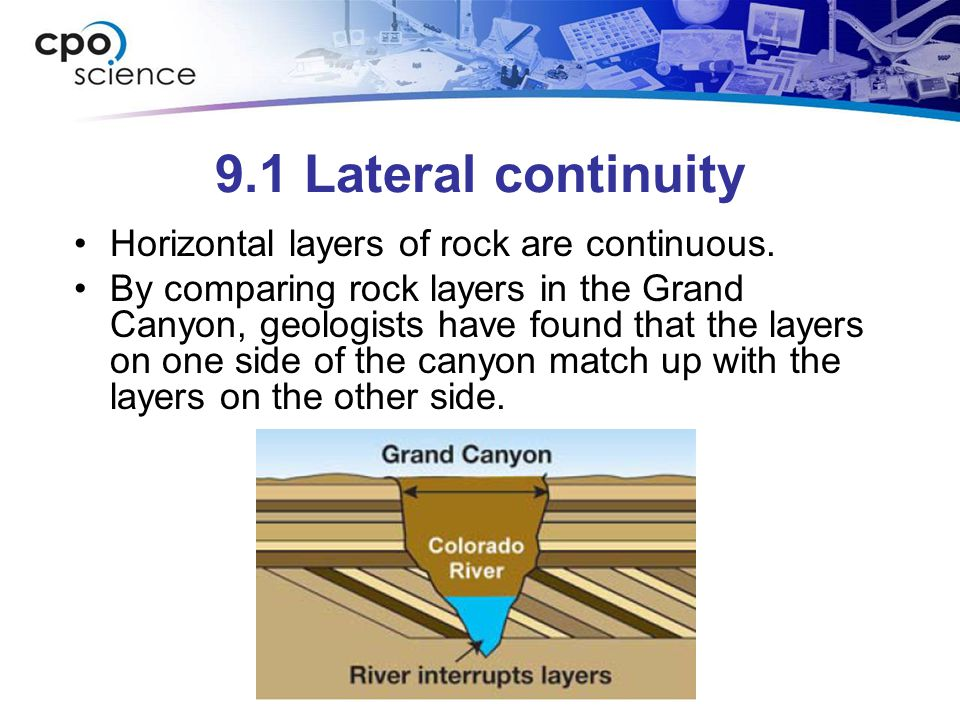 9.1 Lateral continuity Horizontal layers of rock are continuous.