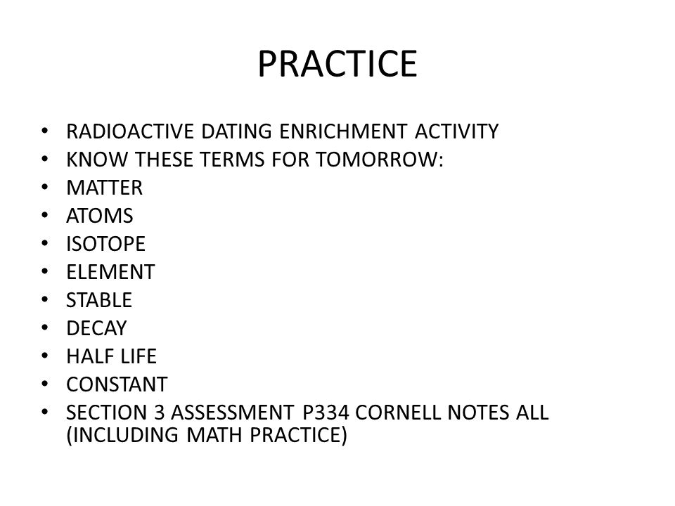 PRACTICE RADIOACTIVE DATING ENRICHMENT ACTIVITY