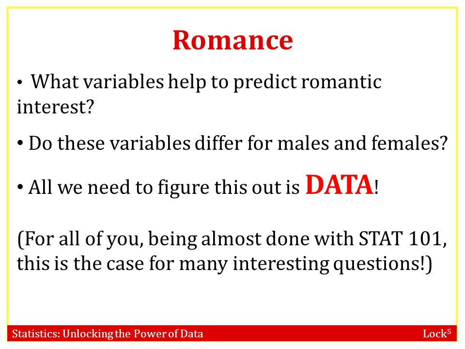 Romance Do these variables differ for males and females