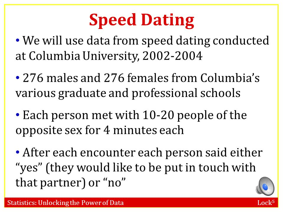 Speed Dating We will use data from speed dating conducted at Columbia University, 2002-2004.