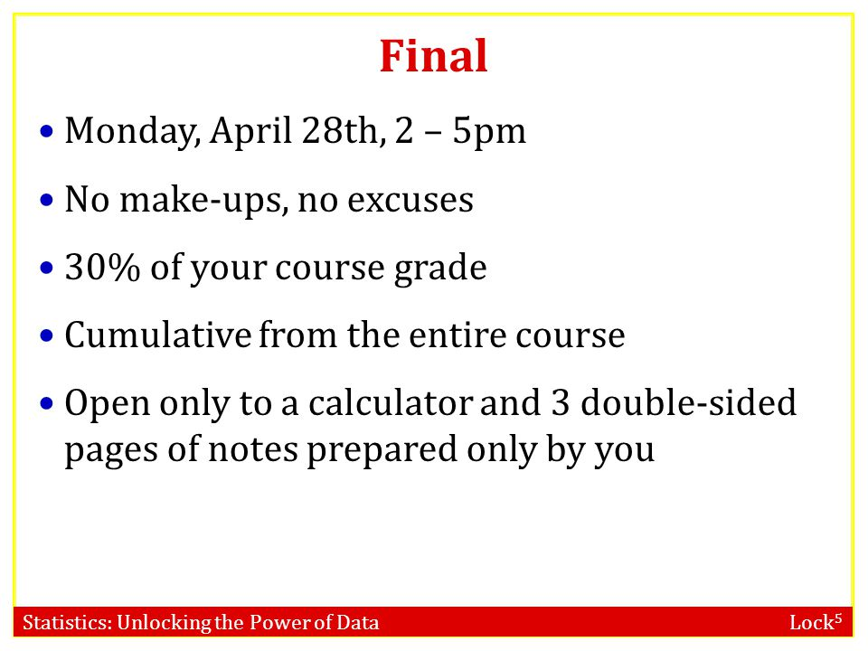 Final Monday, April 28th, 2 – 5pm No make-ups, no excuses