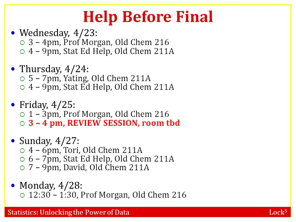 Help Before Final Wednesday, 4/23: Thursday, 4/24: Friday, 4/25: