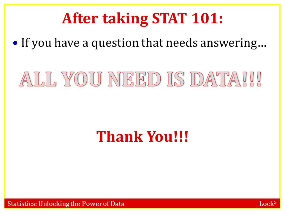 ALL YOU NEED IS DATA!!! After taking STAT 101: Thank You!!!