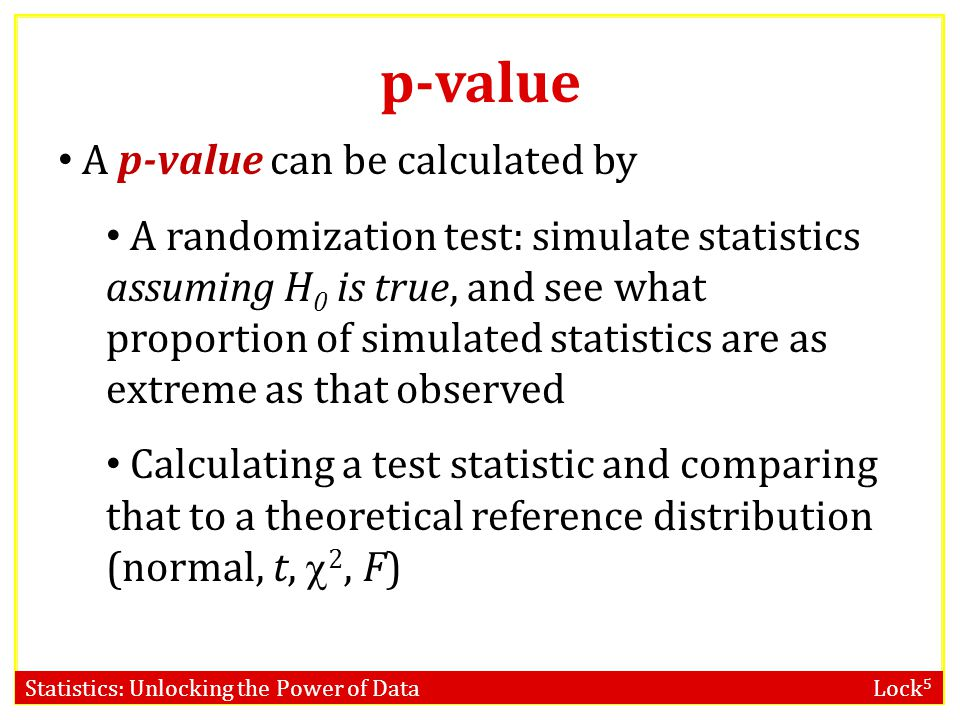 p-value A p-value can be calculated by