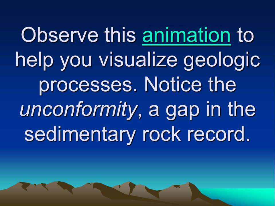 Observe this animation to help you visualize geologic processes