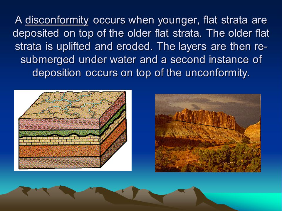 A disconformity occurs when younger, flat strata are deposited on top of the older flat strata.