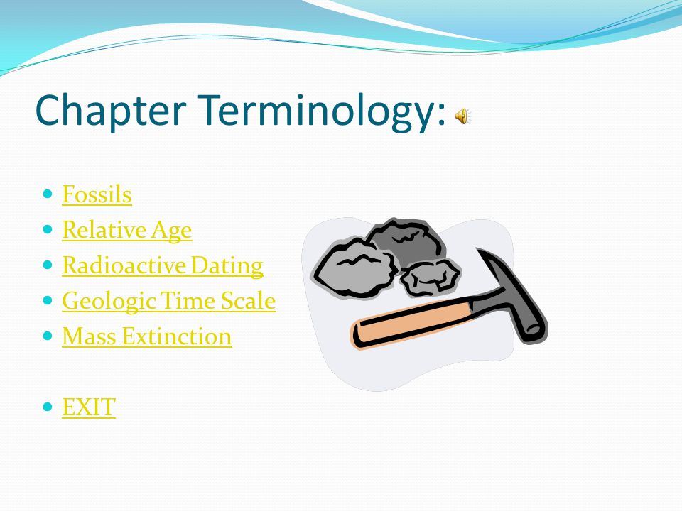 Chapter Terminology: Fossils Relative Age Radioactive Dating