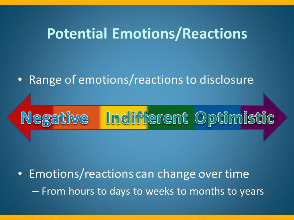Potential Emotions/Reactions