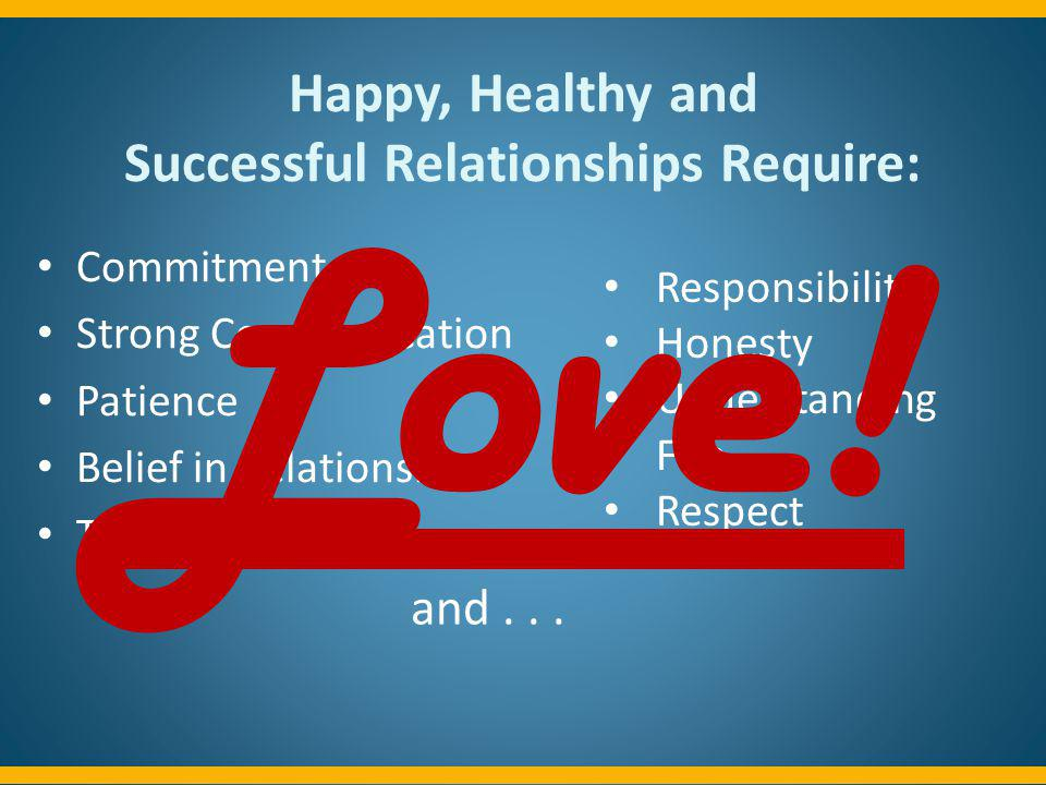 Happy, Healthy and Successful Relationships Require: