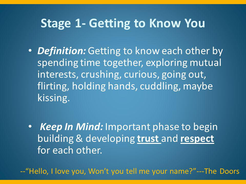 Stage 1- Getting to Know You