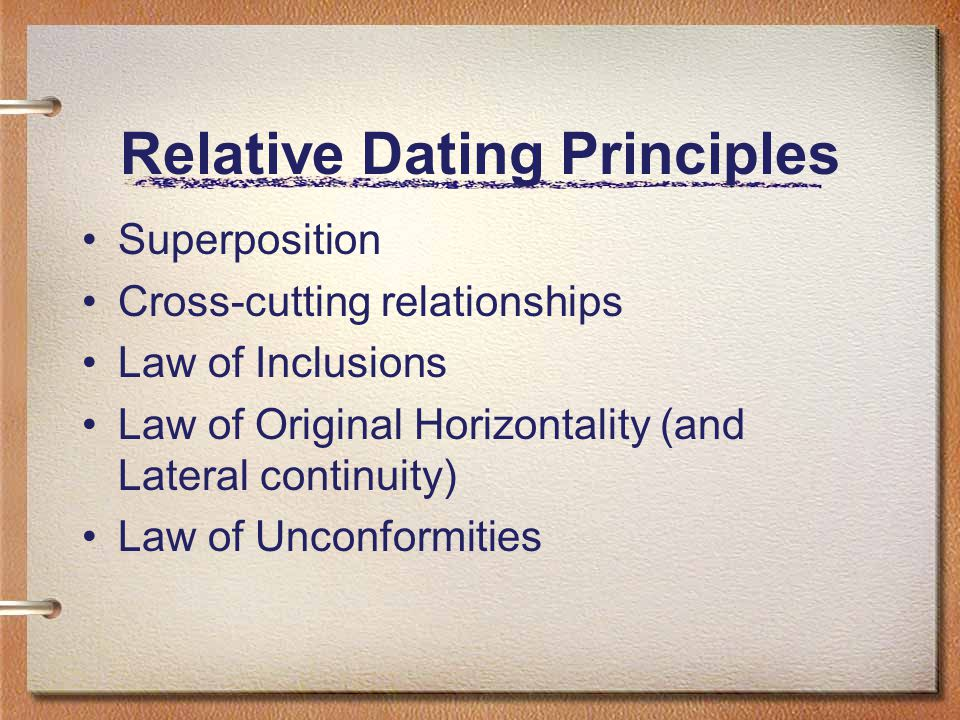 what are two principles of relative dating Start studying relative dating: principles of stratigraphy learn vocabulary, terms, and more with flashcards, games, and other study tools.