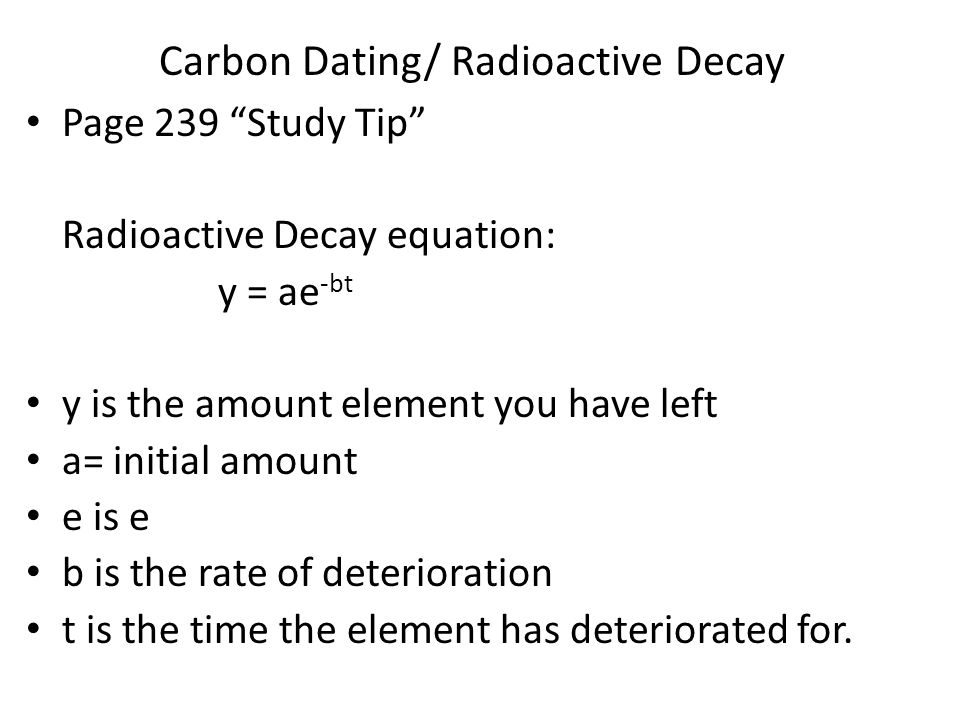 Radioisotope dating equation