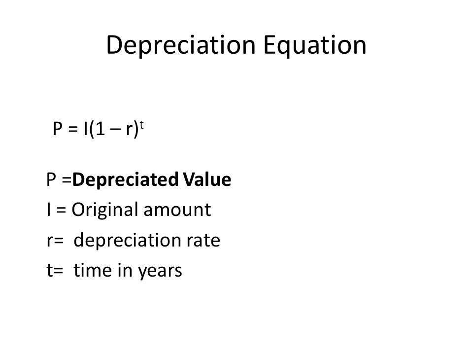 Depreciation Equation