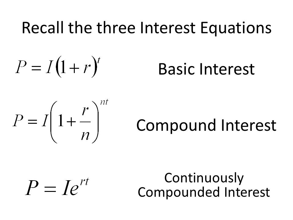 Recall the three Interest Equations