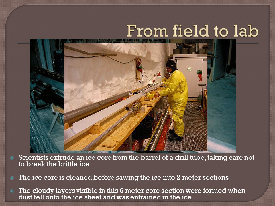 From field to lab Scientists extrude an ice core from the barrel of a drill tube, taking care not to break the brittle ice.