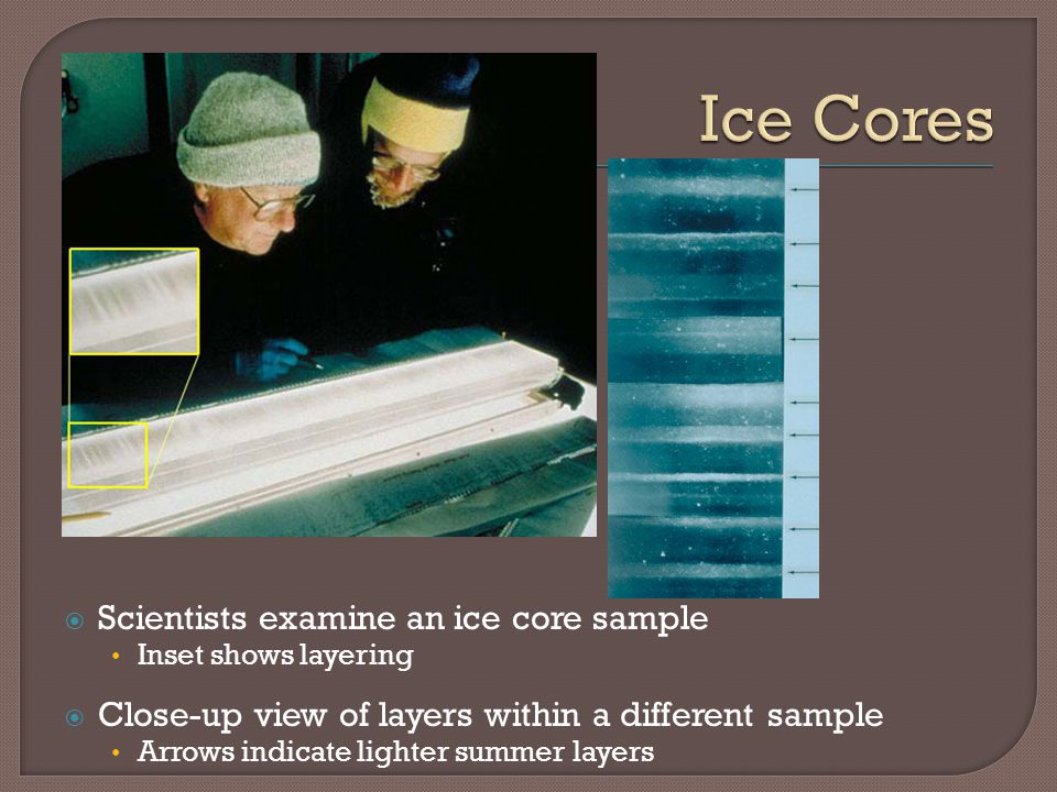 Ice Cores Scientists examine an ice core sample