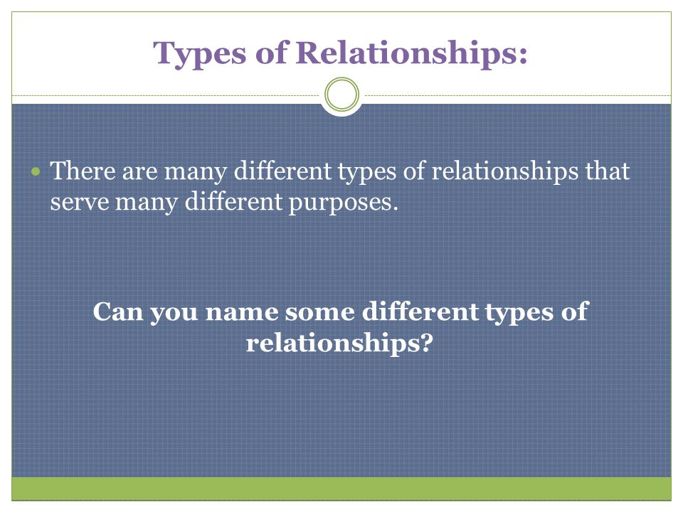 Types of Relationships: