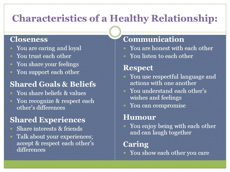 Characteristics of healthy dating relationships
