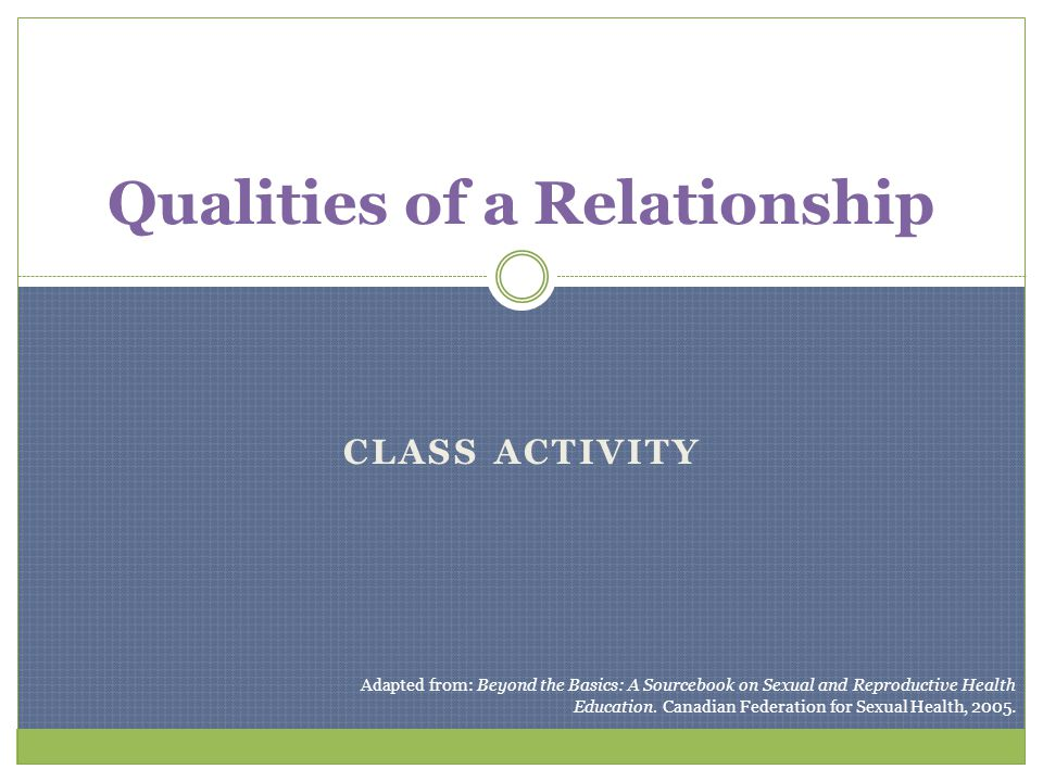 Qualities of a Relationship