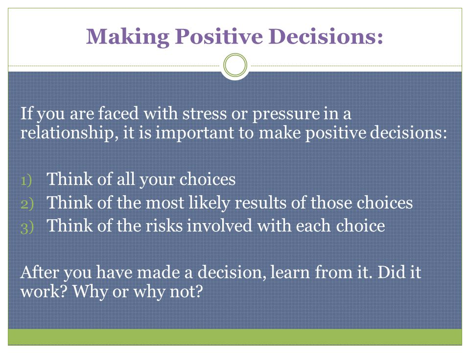 Making Positive Decisions: