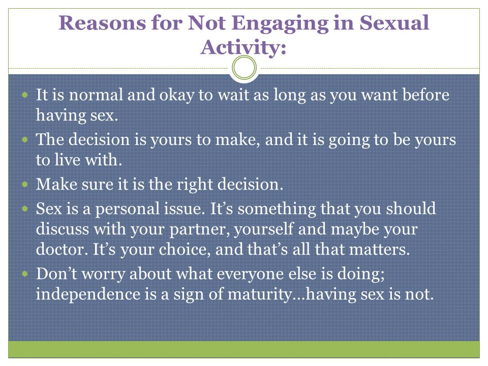 Reasons for Not Engaging in Sexual Activity: