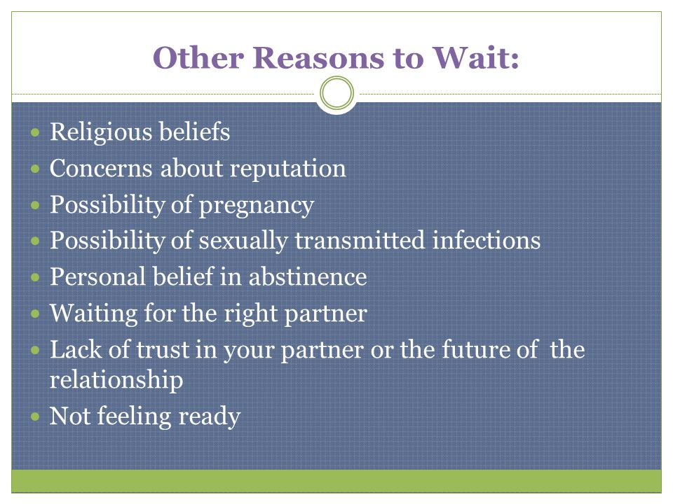 Other Reasons to Wait: Religious beliefs Concerns about reputation