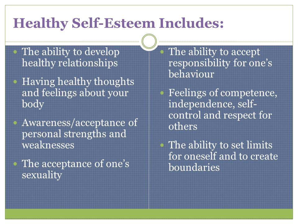 Healthy Self-Esteem Includes: