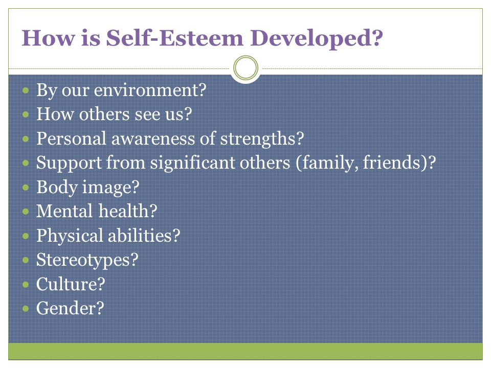 How is Self-Esteem Developed