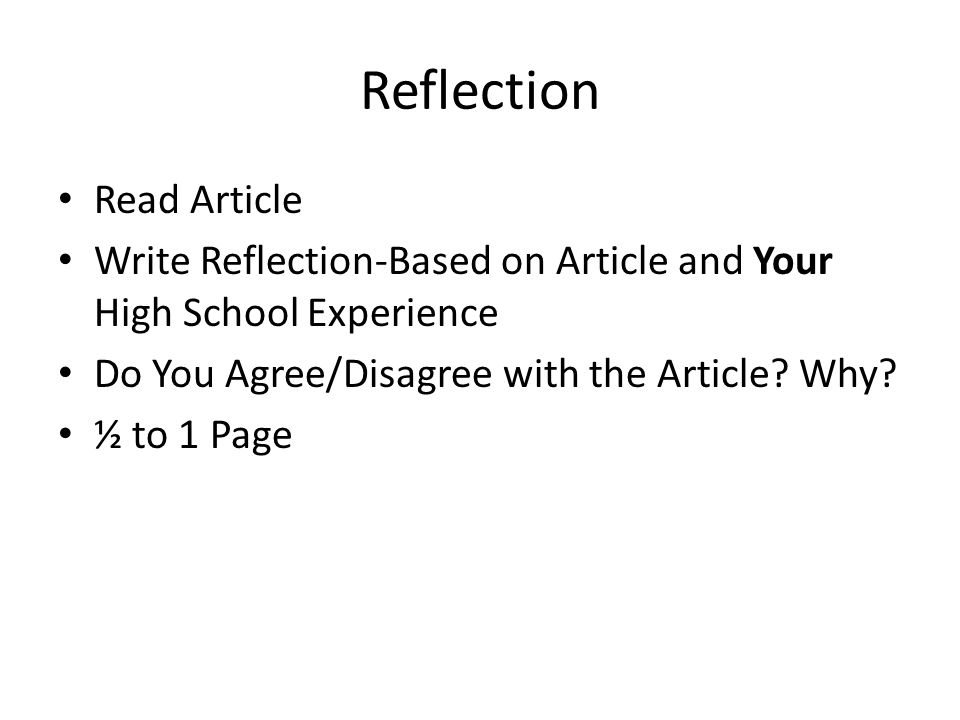 Reflection Read Article