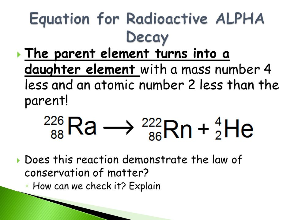 Equation for Radioactive ALPHA Decay