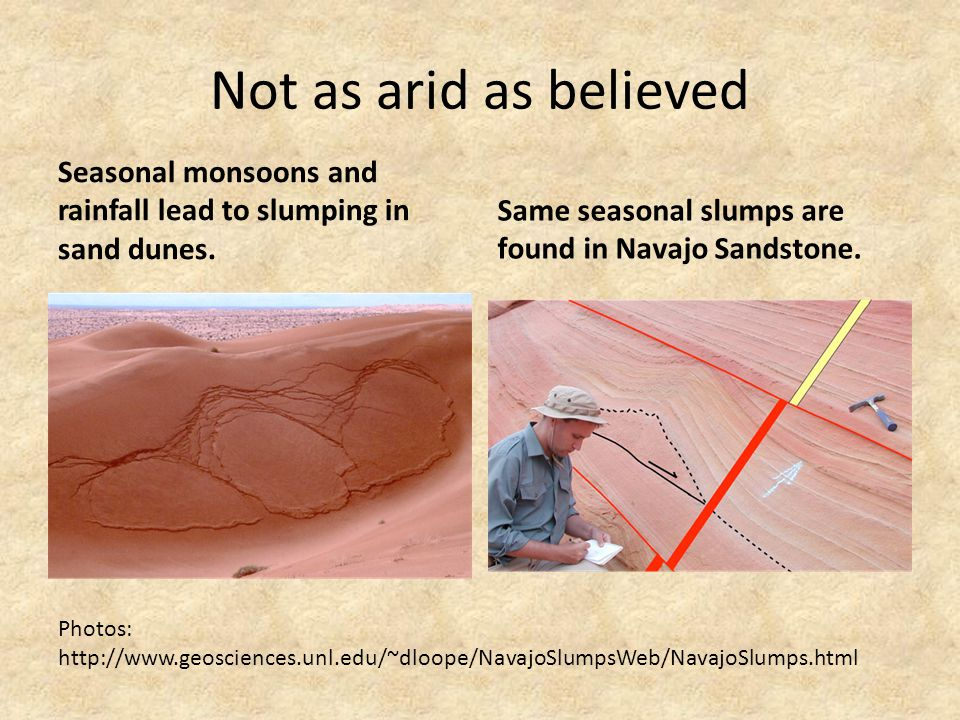 Not as arid as believed Seasonal monsoons and rainfall lead to slumping in sand dunes. Same seasonal slumps are found in Navajo Sandstone.