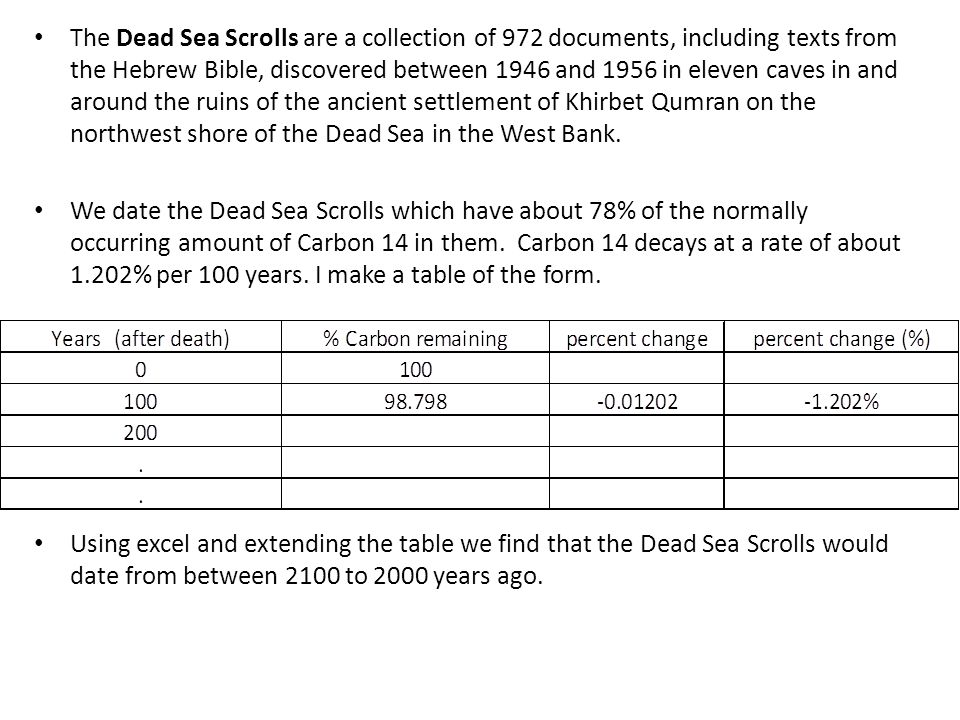 The Dead Sea Scrolls are a collection of 972 documents, including texts from the Hebrew Bible, discovered between 1946 and 1956 in eleven caves in and around the ruins of the ancient settlement of Khirbet Qumran on the northwest shore of the Dead Sea in the West Bank.