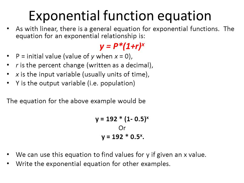 how to find the equation of an exponential function