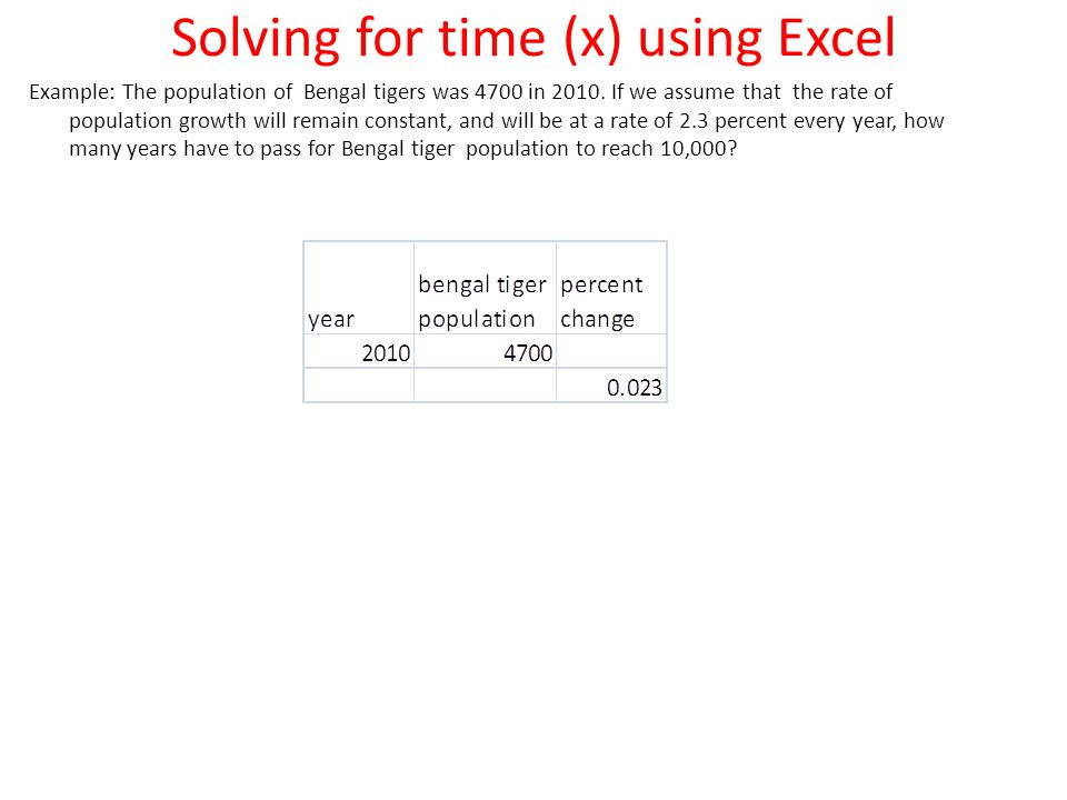 Solving for time (x) using Excel