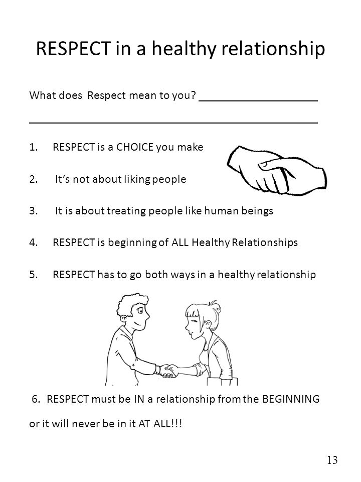 RESPECT in a healthy relationship