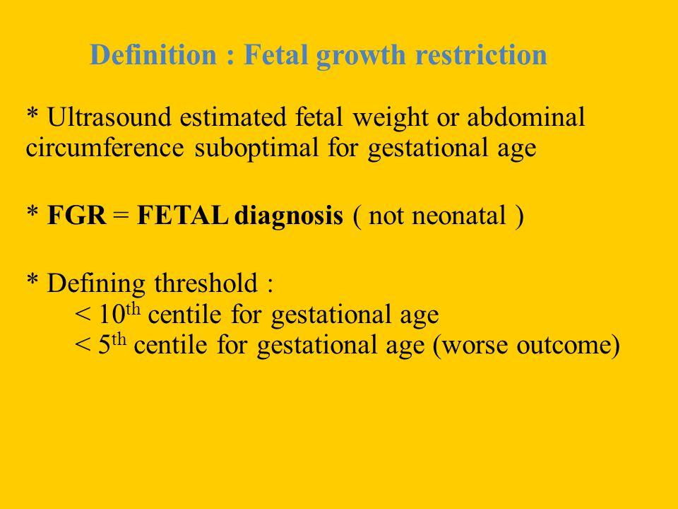 Definition : Fetal growth restriction